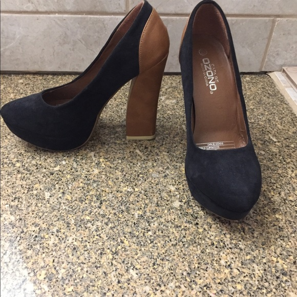 Black and brown platform heels